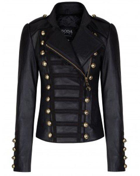 a68460fa03f1b Fancy Stylish Stand Collar Long Sleeve Studded Faux Leather Women s Black  Jacket
