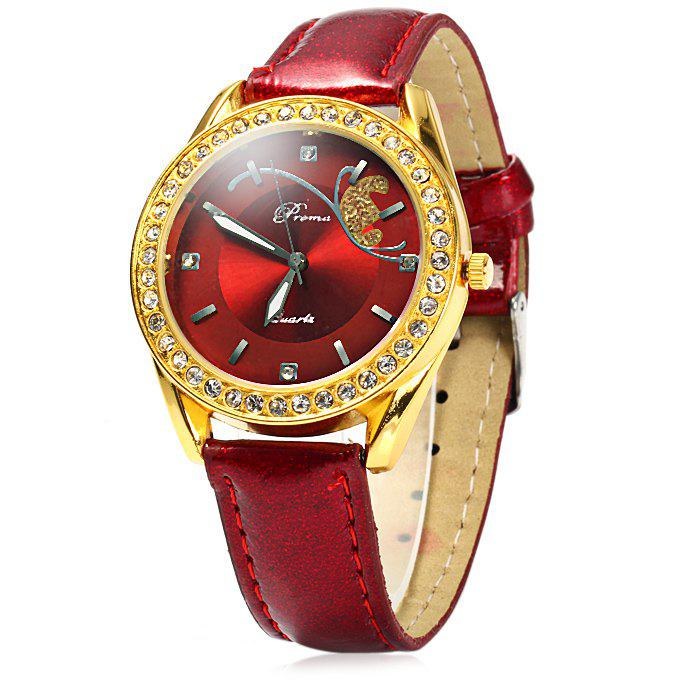 Prema Female Quartz Watch Diamond Bezel Leather WatchbandJEWELRY<br><br>Color: RED; Brand: Prema; Watches categories: Female table; Available Color: Red,Purple; Style: Fashion&amp;Casual;