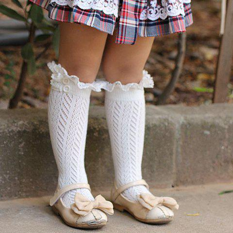 Latest Pair of Chic Button and Lace Embellished Herringbone Knitted Stockings For Girls