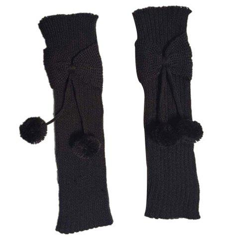 Online Pair of Chic Small Ball Pendant and Bow Embellished Knitted Leg Warmers For Girls