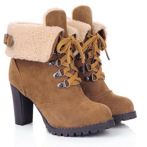 Suede Chunky Heel BootiesSHOES &amp; BAGS<br><br>Size: 37; Color: BROWN; Gender: For Women; Boot Type: Fashion Boots; Boot Height: Ankle; Toe Shape: Round Toe; Heel Type: Chunky Heel; Heel Height Range: High(3-3.99); Closure Type: Lace-Up; Shoe Width: Medium(B/M); Pattern Type: Solid; Embellishment: Metal; Upper Material: Suede; Weight: 1.120kg; Season: Winter,Spring/Fall; Platform Height: 1.5CM; Heel Height: 8CM; Package Contents: 1 x Boots (pair);