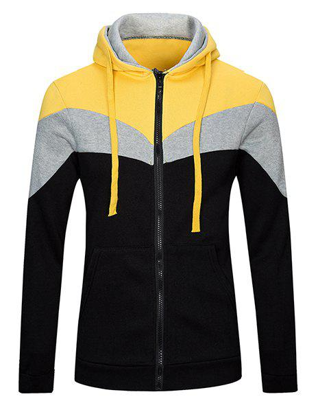 5c6c9bb74 Fashion Classic Color Lump Splicing Front Pocket Slimming Drawstring Hooded  Long Sleeves Men's Hoodie