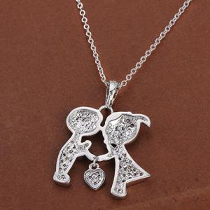 Sweet Rhinestone Solid Color Boy And Girl Shape Necklace For Women -
