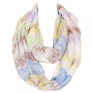 Chic Wavy Stripe Pattern Multicolor Voile Scarf For Women - Blue
