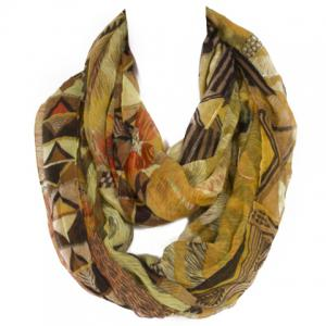 Chic Triangle and Fur Pattern Multicolor Voile Scarf For Women - Yellow