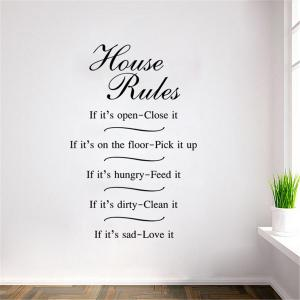 House Rules Words Style Removable Wall Stickers for Room Window Decoration -