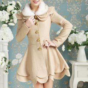 Elegant Turn-Down Collar Long Sleeve Faux Fur Spliced Layered Women's Coat - Apricot - M