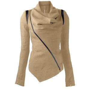 Stylish Cowl Neck Long Sleeve Zippered Women's Leather Trim Jacket