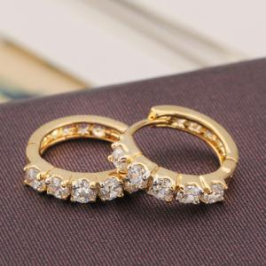 Pair of Round Rhinestone Hollow Out Earrings - WHITE