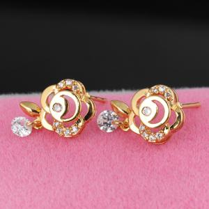 Pair of Stylish Rhinestone Floral Hollow Out Earrings For Women -