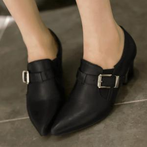 Fashionable Buckle and Elastic Design Women's Pumps -