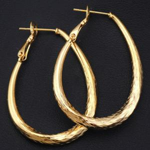 Pair of Vintage Engraved Oval Earrings - GOLDEN