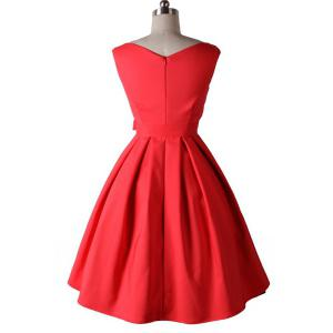 Noble Round Neck Sleeveless Solid Color Bowknot Embellished Women's Dress -