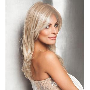 Charming Long Side Bang Vogue Fluffy Natural Wave Light Blonde Synthetic Wig For Women -