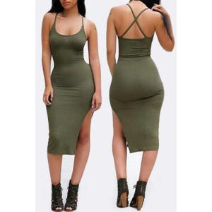 Side Slit Spaghetti Strap Bodycon Day Dress