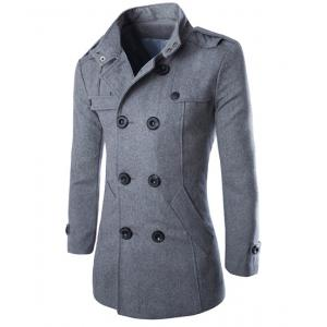 Turn-Down Collar Epaulet Design Double Breasted Long Sleeve Woolen Men's Peacoat - Gray - 2xl