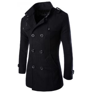Turn-Down Collar Epaulet Design Double Breasted Long Sleeve Woolen Men's Peacoat