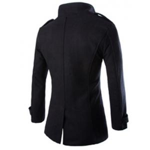 Turn-Down Collar Epaulet Design Double Breasted Long Sleeve Woolen Men's Peacoat - BLACK 3XL
