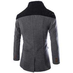 Color Block Spliced Turn-Down Collar Double Breasted Long Sleeve Woolen Men's Peacoat - GRAY L