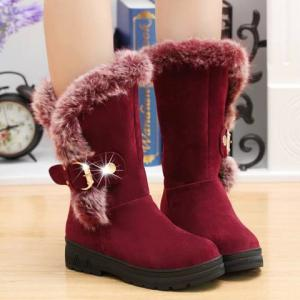 Buckled Fur Trimmed Mid-calf Boots -