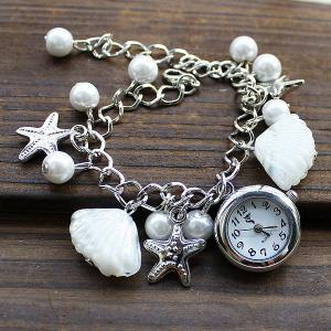 SL004 Shell Starfish Bead Pendant Quartz Watch Chain Wristwatch for Women - White