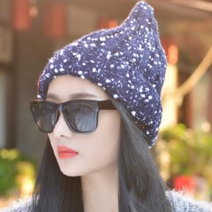 Chic Letter Label and White Tiny Pompon Embellished Knitted Beanie For Women -