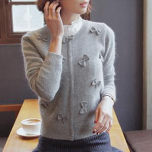 Stylish Round Neck Long Sleeve Bowknot Embellished Women's Cardigan