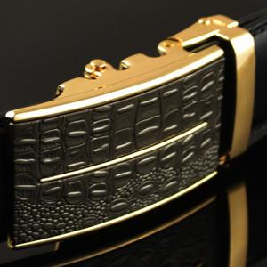 Stylish Crocodile Skin Shape and Bar Embellished Auto Buckle Belt For Men -