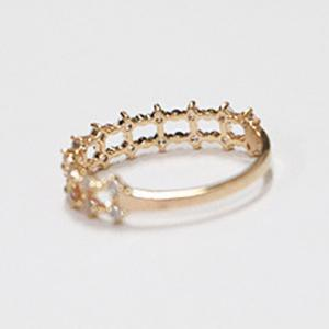 Trendy Rhinestoned Pure Color Hollow Out Ring For Women -