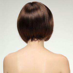 Sweet Light Brown Mixed Side Bang Synthetic Trendy Short Straight Bob Hairstyle Wig For Women -