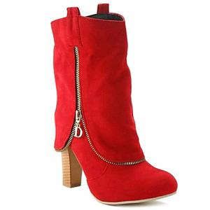 Suede Slip On Mid Calf Boots