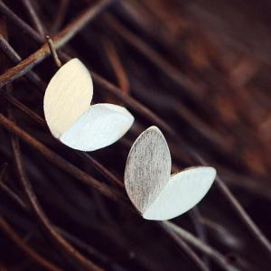 Pair of Alloy Matte Leaf Shape Earrings - SILVER