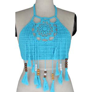 Crochet Tassels Crop Tank Top - BLUE ONE SIZE(FIT SIZE XS TO M)