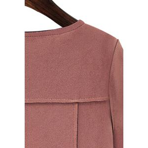 Stylish Round Collar Long Sleeves Solid Color Women's Suede Jacket - PINK 2XL