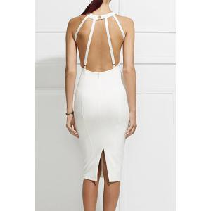 Sexy Round Neck Sleeveless Solid Color Open Back Bodycon Women's Dress - White - S