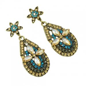 Pair of Vintage Rhinestoned Faux Crystal Water Drop Hollow Out Earrings For Women -