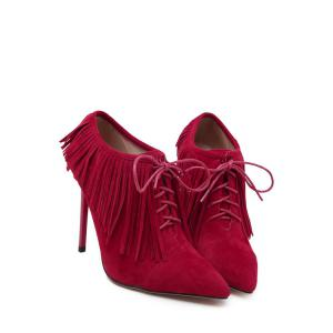 Party Fringe and Pointed Toe Design Women's Ankle Boots -