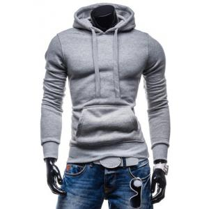 Laconic Drawstring Hooded Solid Color Front Pocket Fitted Men's Long Sleeves Hoodie - Light Gray - L