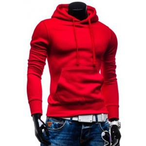 Laconic Drawstring Hooded Solid Color Front Pocket Fitted Men's Long Sleeves Hoodie