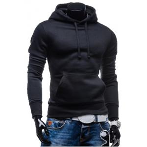 Laconic Drawstring Hooded Solid Color Front Pocket Fitted Men's Long Sleeves Hoodie - Black - 2xl