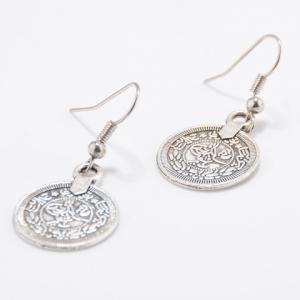 Round Coin Shape Drop Earrings - SILVER