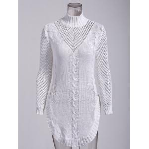 Long Sleeve Hollow Out Short Jumper Dress - White - S