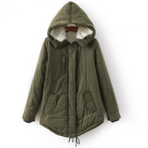 Stylish Long Sleeves Drawstring Hooded Coat For Women - Army Green - M