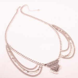 Delicate Solid Color Wafer Tassel Rhombus Shape Belly Body Chain For Women - SILVER