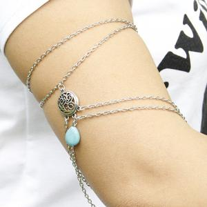 Vintage Engraved Faux Turquoise Water Drop Arm Chain For Women -