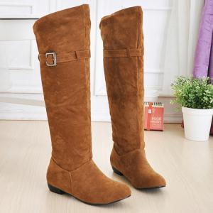 Buckled Pull On Knee High Boots -