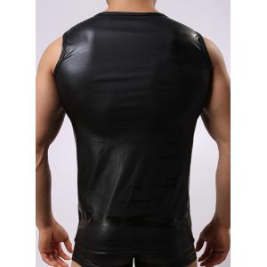 Round Neck Sexy Close-Fitting Sleeveless Men's PU-Leather Tank Top -