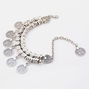 Vintage Dull Polish Punk Coin Tassel Indian Boot Anklet - SILVER
