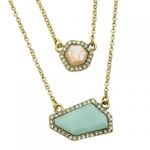 A Suit of Vintage Rhinestoned Faux Gemstone Geometric Necklace and Earrings For Women -
