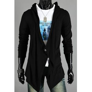 Asymmetric One Button Single-Breasted Solid Color Hooded Long Sleeves Men's Cardigan - Black - Xl